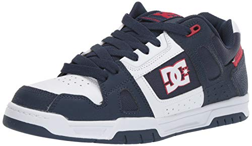 DC Men's STAG Skate Shoe, Athletic red/White, 8 M US