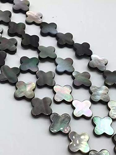 Calvas (10 Pieces/lot) 12mm MOP Mother of Pearl Shell Beads Carved Lucky Clover Flower Pendant Focal Beads Drilled Stone Beads - (Color: Black Shell)