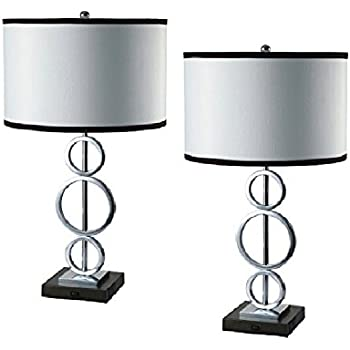 AEO AEO LT8323 1 2PK Ring Metal Tall Table Lamp Set With Convenient