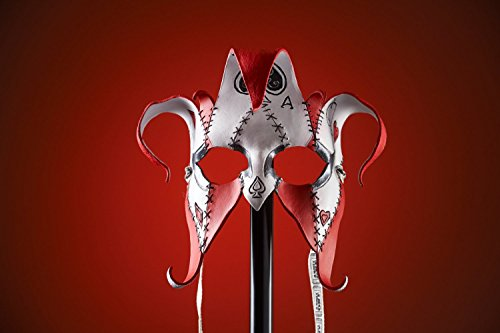 Joker Jester Handmade Genuine Leather Mask in Red for Masquerades, Halloween or Cosplay - The Joker's -
