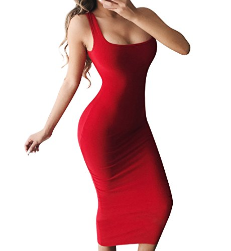 BEAGIMEG Women's Basic Tank Bodycon Sleeveless Solid Casual Long Dress Red