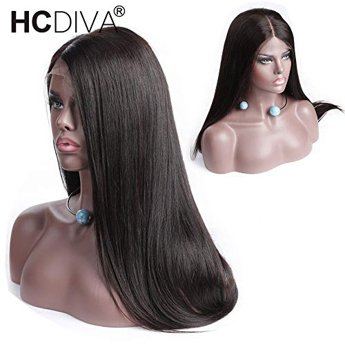 13x4 Lace Front Human Hair Wigs For Black Woman Middle Part 130% Density Pre Plucked Lace Frontal Wigs with Baby Hair Brazilian Straight Remy Hair HCDIVA (16 inch Middle Part) from HCDIVA