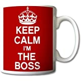 Keep Calm And Carry On I'm the Boss Mug Tasse cadeau rétro