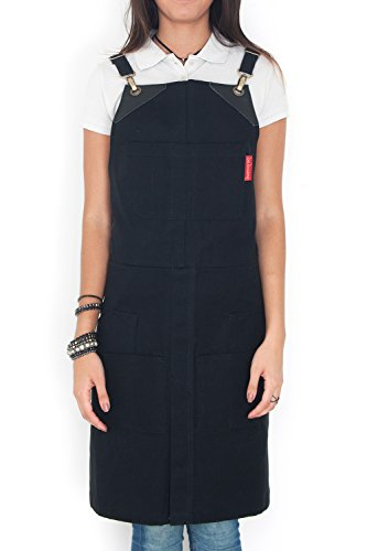 Under NY Sky Cargo Ink Black Apron - Cross-Back with Heavy-Duty Canvas, Leather Reinforcement and Split-Leg - Adjustable for Men and Women - Pro Woodworker, Mechanic, Welder, Tattoo Artist Aprons (Tattoo Machines Made In America)