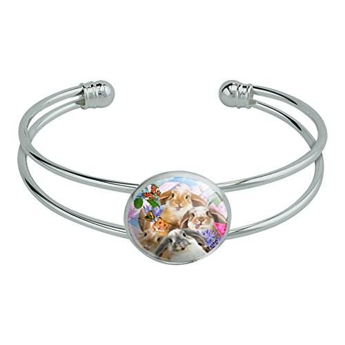 Graphics and More Rabbits Bunnies Hampster Backyard Flower Selfie Novelty Silver Plated Metal Cuff Bangle -