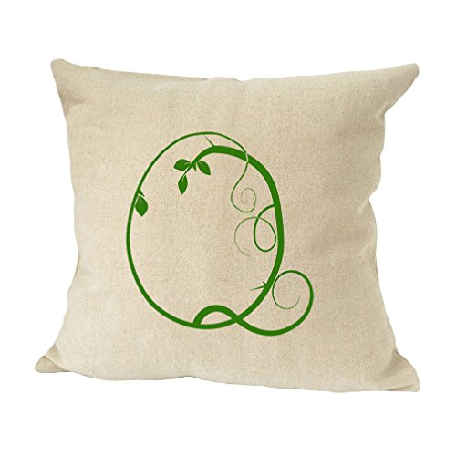''Q '' Wood Branch Green Monogram Letter Q Bed Home Decor Faux Linen Pillow Cover by Style in Print (Image #1)