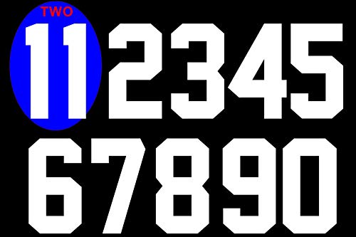 Numbers Kit(0-9),8 Tall for Sports T-Shirt jersey football Baseball,Iron On, heat transfer, team,t-shirt(Style A) (White(0-9))
