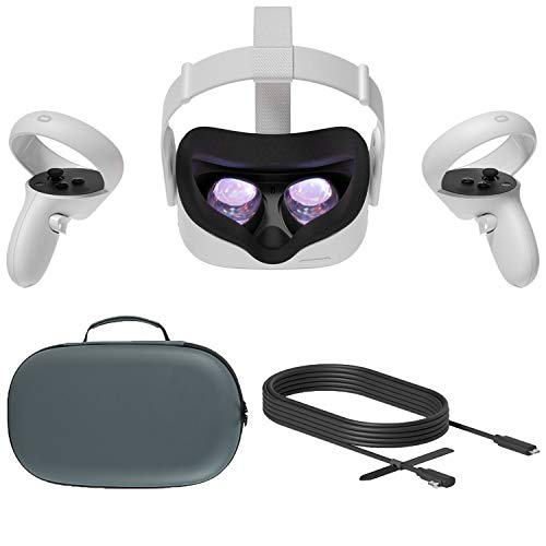 Oculus Quest 2 All-In-One Virtual Reality Headset VR Gaming Touch Controllers, 256GB SSD, 1832x1920 up to 90 Hz Refresh Rate LCD, 3D Audio, Mytrix Carrying Case, Oculus Link Cable