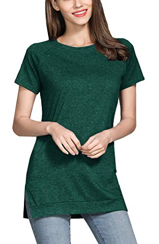 GSVIBK Womens Short Sleeve Side Split Tunic Round Neck Casual Soft Blouse Top T-Shirt 212 Green S