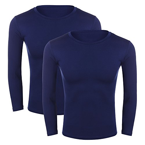Etouji Men Crew Neck Cotton T-Shirt Thermal Underwear Top Long Sleeve Shirts, Pack of 2
