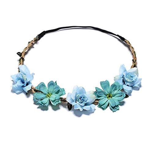 Sweet Flower Crown Bride Wreath Wedding Garlands Adjustable Hair Accessories Beach Wianek Kwiatowy Boho Elastic Headband,F,Adjustable 52-58cm]()