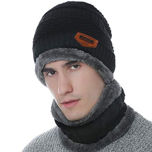 Maylisacc Winter Unisex Slouchy Snow Ski Beanie Hat and Neck Warmer Scarf Two-Piece Set for Women Men Black