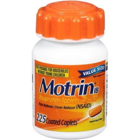 Motrin IB, Ibuprofen, Aches and Pain Relief, 225 Count (Pack of 5)