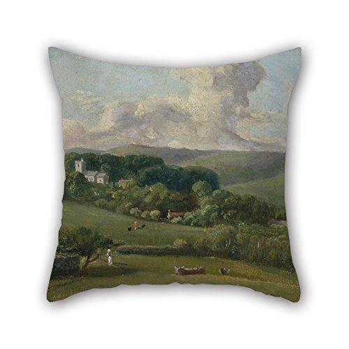 Sateen Bishops Cotton - Artistdecor Oil Painting John Fisher, Bishop Of Salisbury - Osmington- A View To The Village Cushion Covers 20 X 20 Inches / 50 By 50 Cm Gift Or Decor For Chair Indoor Dance Room Couch Girls Valent