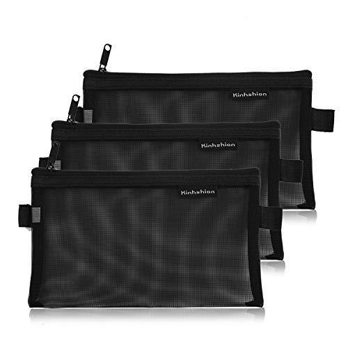 BoomYou 3 Pieces Zipper File Bags Organizer Mesh Zipper Pencil Case Storage Holder Transparent Paper Document Pouches for Office School, Business Receipts, Newspaper, Magazine - Black