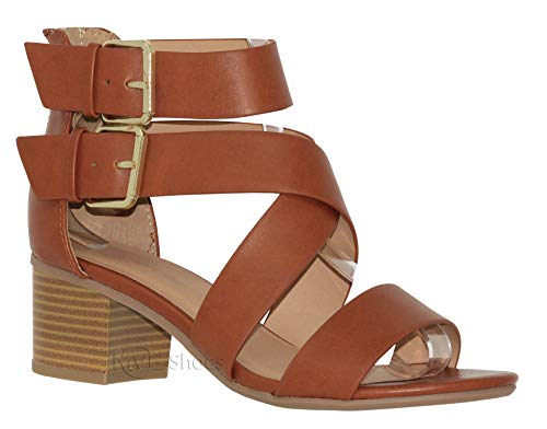 MVE Shoes Strappy Cutout Ankle Buckle Heeled Sandal, Tan PU Size -