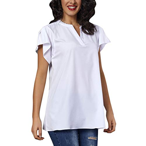 (ALLYOUNG Women's Frill V Neck Casual Short Sleeve T-Shirt Ladies Summer Loose Tops Comfortable Blouse White)