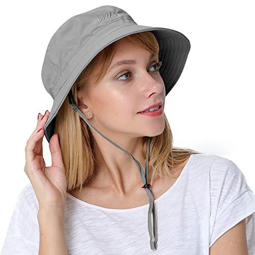 Ladies Bucket Hat - Puli Women's Packable Fisherman Bucket Hat Outdoor Hat with Chin Strap Sun Protective, Grey