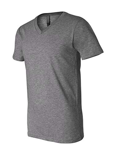 Bella 3005 Unisex Jersey Short Sleeve V-Neck Tee - Deep Heather, Medium from Bella