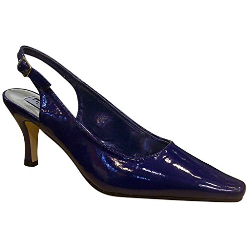 Ladies Platinum Collection - Platinum Collection Women's 52336 Mid Heel Patent Sling Back Shoes, Navy, 10 W