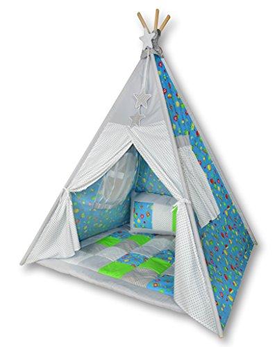 Amilian Tipi Spielzelt Zelt für Kinder T04 (Spielzelt mit der Tipidecke und Kissen)