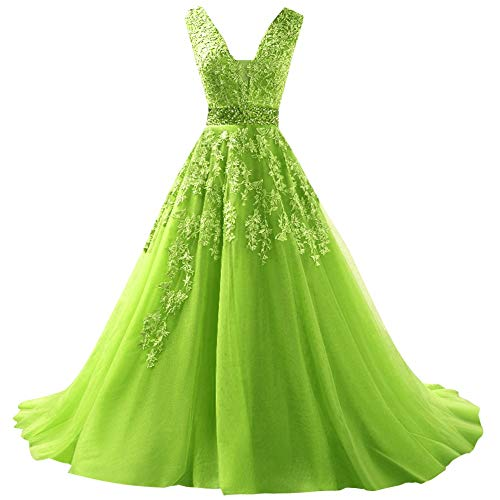 SUNFURA Women's Lace Beading Sequins Deep V-Neck Tulle Prom Evening Dress US14 Lime Green