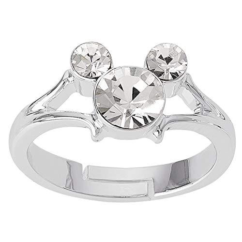 Disney Mickey Mouse Jewelry, Silver Plated Clear Crystal Ring, Size 4, Mickey's 90th Birthday Anniversary, Size 4 -