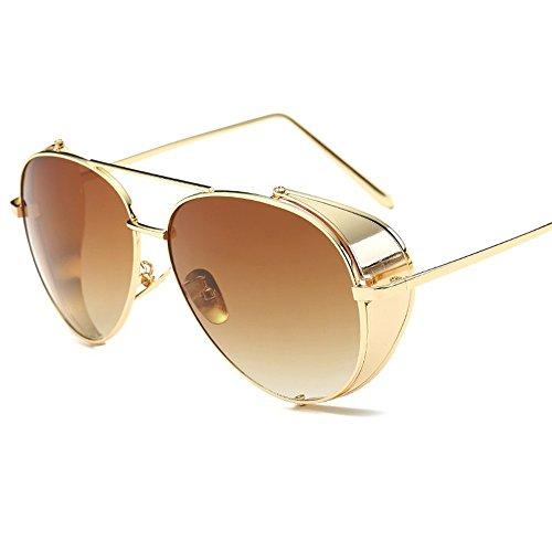 Gradient Sol Sol Box De Viento De Fresco Elegantes De The WHLDK Gafas De Gafas Los Metal Sol Hombres Color Gafas Tea XqFwAgnH