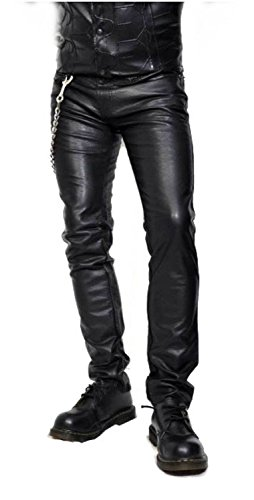 Mens Leather Motorcycle Jeans - 8