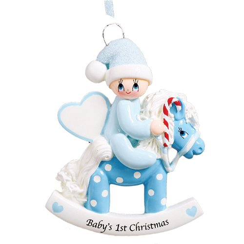 Personalized Baby's 1st Christmas Rocking Pony Tree Ornament 2019 - Boy Glitter Hat Heart Ride Polka Dot Horse Candy-Cane New Mom Shower Grand-Son - Free Customization (Blue)