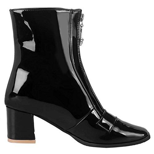 AIYOUMEI Damen Lackleder Stiedeletten mit Reißverschluss und 6cm Absatz Kurzschaft Stiefel LXhj5J5bS4
