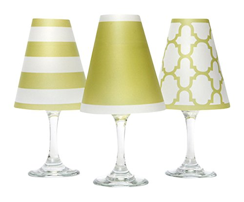 di Potter WS134 Nantucket Paper White Wine Glass Shade, Oasis Green (Pack of 6)