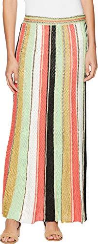 M Missoni Women's Vertical Stripe Crochet Skirt Coral 44