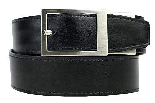 Nexbelt Ratchet System Technology - Defender Black Leather EDC Gun Belt for Men with High Strength Zipper Backing