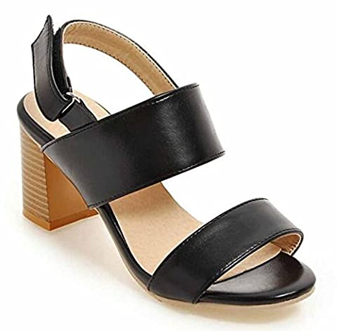 SHOWHOW Women's Fashion Open Toe Hook-and--loop Sling Back Mid Stack Heel Sandals Shoes Black 9 B(M) US