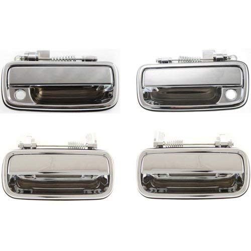 Exterior Door Handle Compatible with Toyota Tacoma 2001-2004 Front and Rear Door Handle Right Side and Left Side Outside All Chrome ()