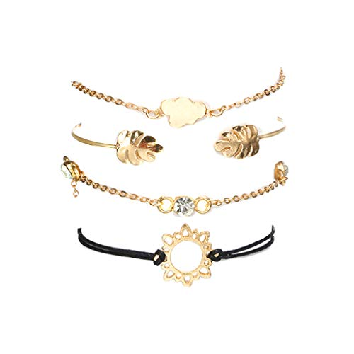 ❤ Lemoning ❤ Fashionable Leaf Openwork Flower Diamond Cloud Combination Bracelet Four-Piece (Gold)