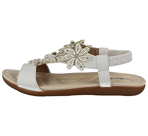 Faux Back Leather 8 bar Peep Bianco 3 Ladies Sandali Fashion Diamante Sling Toe Flower amp; Taglia T Joe Flop Piatto 019 Jo Flip p8xIwqtFR