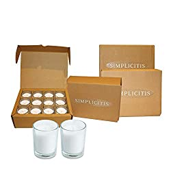 Simplicite Glass Votive Candles Unscented Set of 4