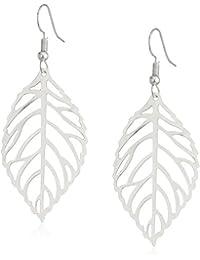 Leaf Shaped Silver Tone Dangle Earrings