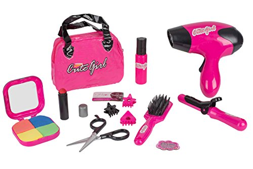 Kids Beauty Salon Set - Stylish Girls Beauty Salon Fashion Pretend Play Set With Cosmetic Bag, Hairdryer, Curling Iron, Blush Pallet With Mirror, Lipstick & Styling