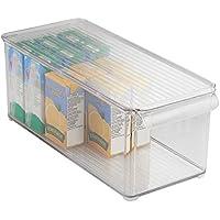 mDesign Caja organizadora transparente - Guardatodo para heladera, cocina, lavadero y más - Contenedor