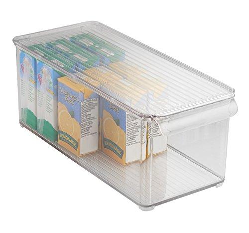 mDesign Contenitore plastica alimenti e organizer Frigo - Contenitore cucina con coperchio. Per conservare confezioni, buste, pacchetti, utensili, accessori MetroDecor