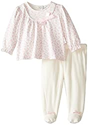 Quiltex Baby-Girls Newborn Heart Leopard Tunic with Footed Top, Pink, 6 Months