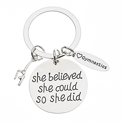 The Infinity Collection Gymnastics Keychain- She Believed She Could So She Did Girls Gymnastics Gift- Gymnastics Jewelry For Gymnast by The Infinity Collection (Image #5)