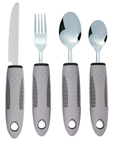 - Adaptive Utensils (4-Piece Kitchen Set) Non-Weighted, Non Slip Wide Handles for Hand Tremors, Arthritis, Parkinson's Disease or Elderly use | Cutlery Silverware - Knife, Fork, Spoons (Gray - 1 Set)