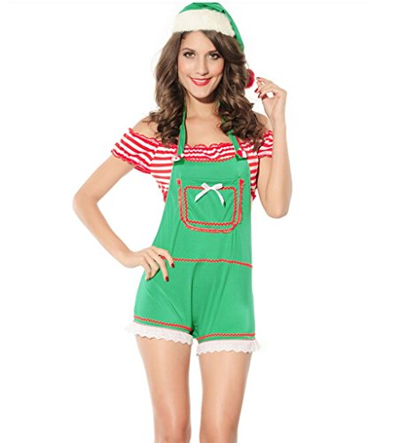 [Eternatastic Women's Christmas Costumes Sexy Lace Lingerie Green M Size] (Elf Outfit For Women)