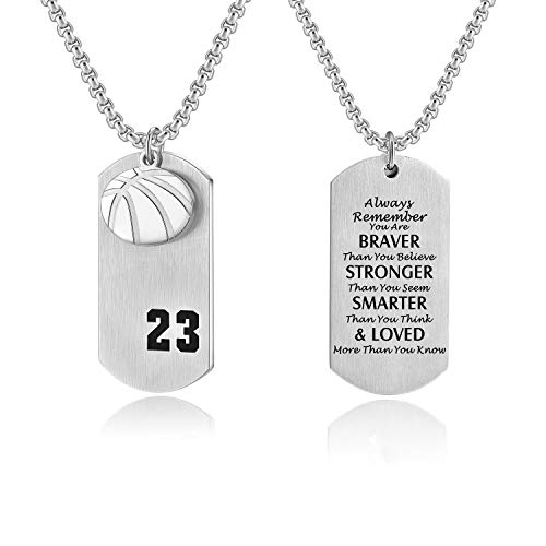 - Godcow Basketball Player 23 Cross Dog Tag Pendant Necklace Always Remember You are Braver Stronger Jewelry
