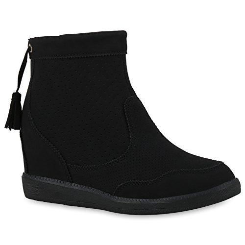 Stiefelparadies Damen Stiefeletten Zipper Warm Gefütterte Keilstiefeletten Plateau Boots Velours Keilabsatz Schuhe Wedges Booties Flandell Schwarz Brooklyn
