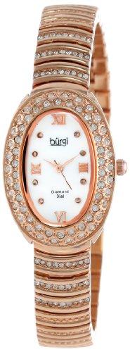 Burgi Women's BUR070RG Diamond Oval Quartz Bracelet Watch